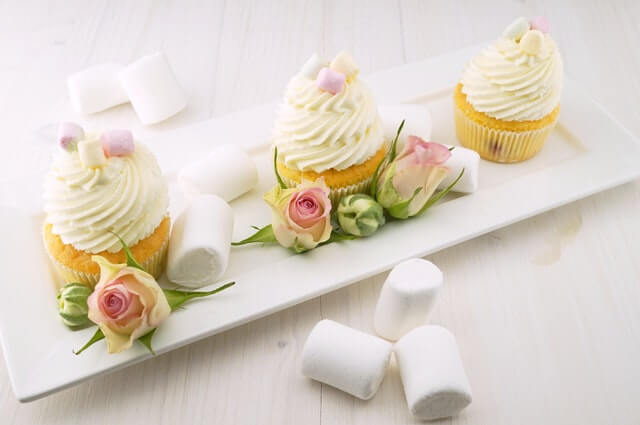sweet delicious cupcakes for baby shower party